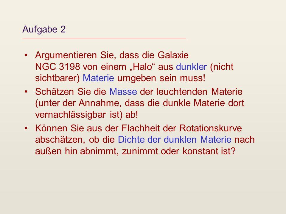 """Aufgabe 2 Argumentieren Sie, dass die Galaxie NGC 3198 von einem """"Halo aus dunkler (nicht sichtbarer) Materie umgeben sein muss!"""