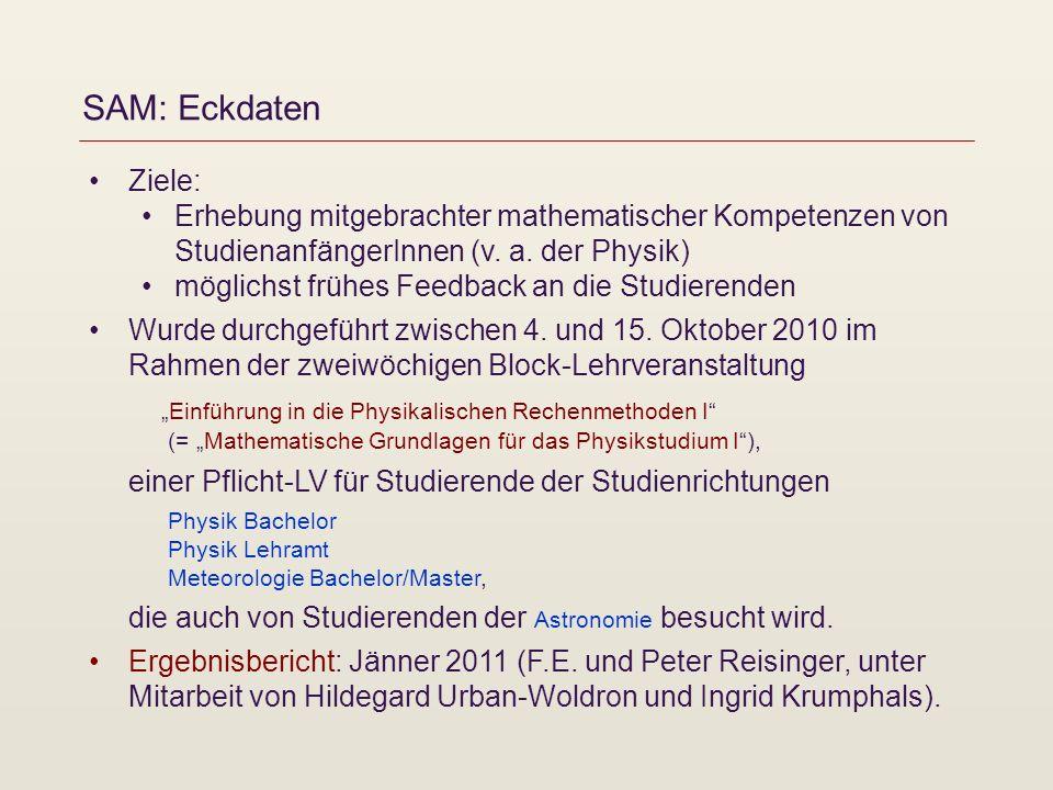 SAM: Eckdaten Ziele: Erhebung mitgebrachter mathematischer Kompetenzen von StudienanfängerInnen (v. a. der Physik)