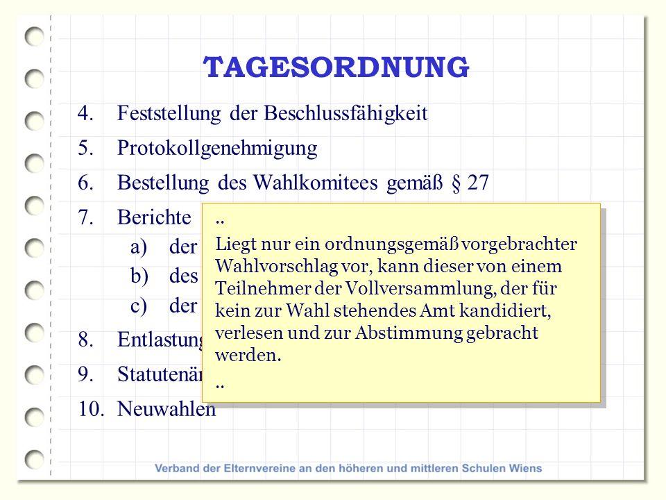 TAGESORDNUNG Feststellung der Beschlussfähigkeit Protokollgenehmigung