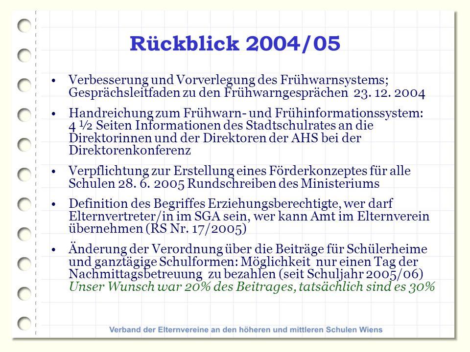 Rückblick 2004/05 Verbesserung und Vorverlegung des Frühwarnsystems; Gesprächsleitfaden zu den Frühwarngesprächen 23. 12. 2004.