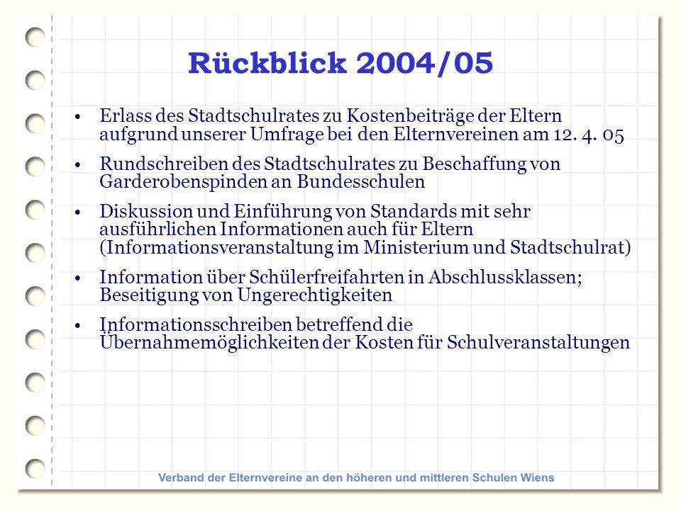Rückblick 2004/05 Erlass des Stadtschulrates zu Kostenbeiträge der Eltern aufgrund unserer Umfrage bei den Elternvereinen am 12. 4. 05.