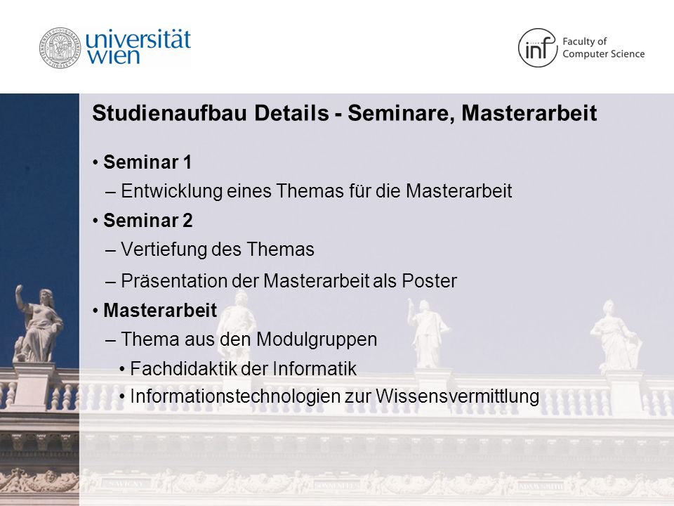 Studienaufbau Details - Seminare, Masterarbeit