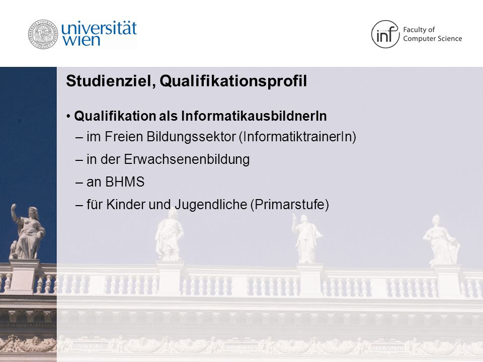 Studienziel, Qualifikationsprofil