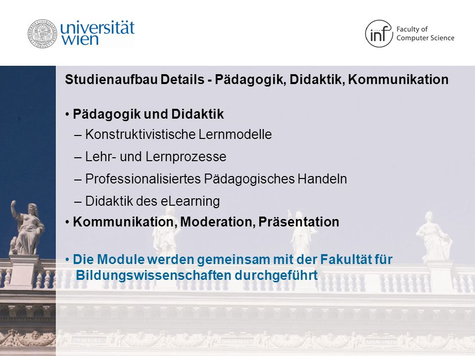 Studienaufbau Details - Pädagogik, Didaktik, Kommunikation