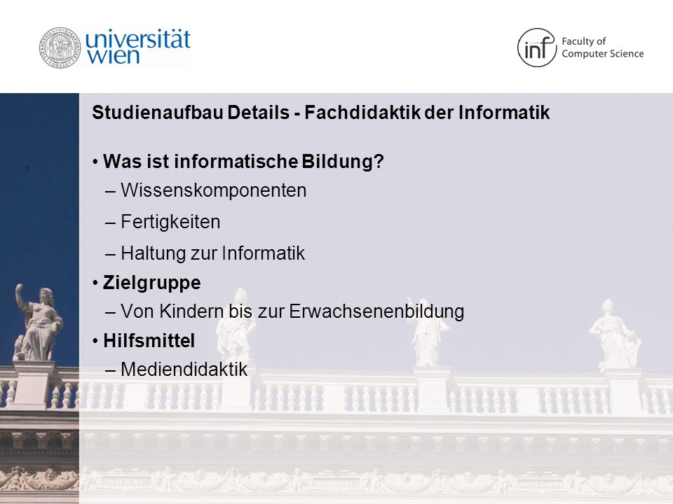 Studienaufbau Details - Fachdidaktik der Informatik