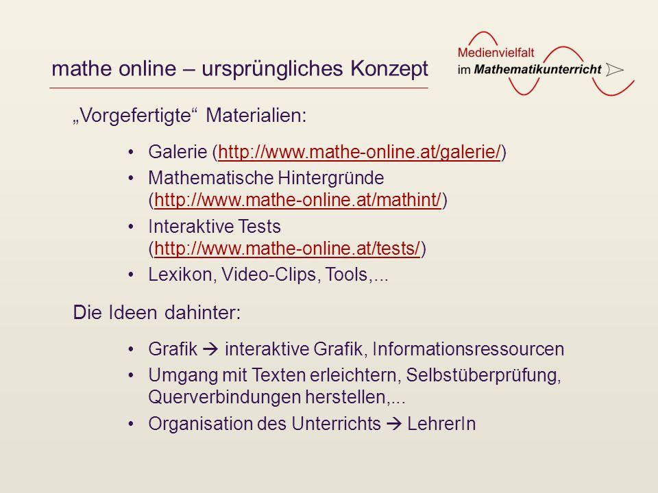 mathe online – ursprüngliches Konzept