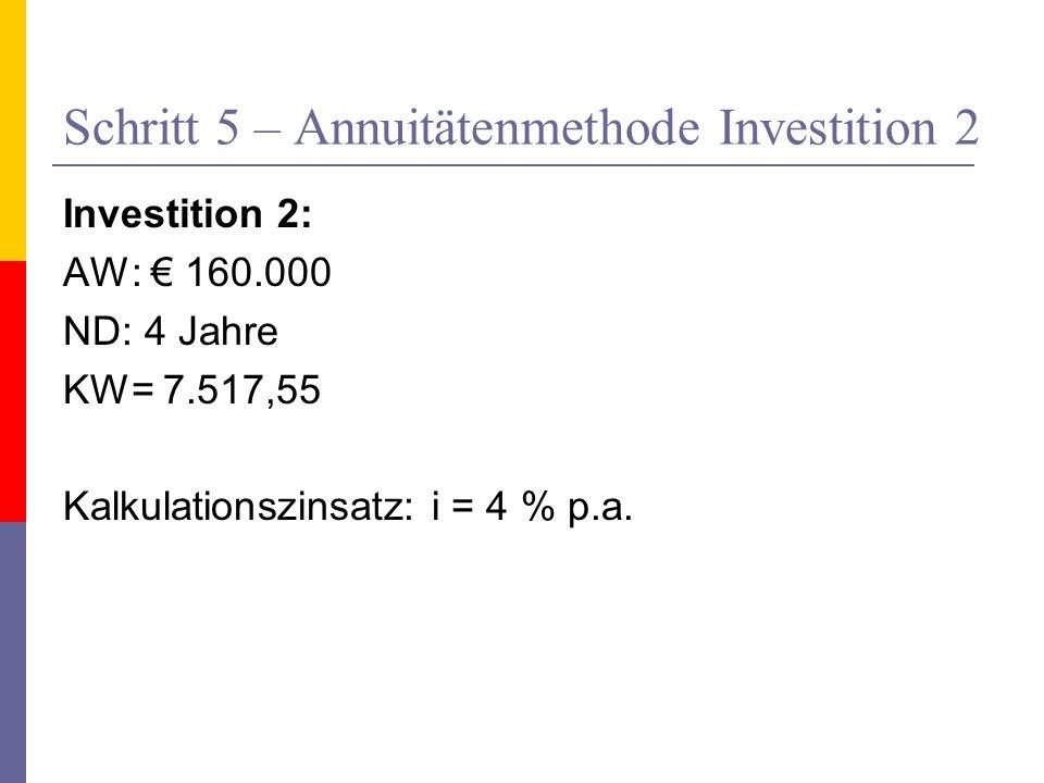 Schritt 5 – Annuitätenmethode Investition 2