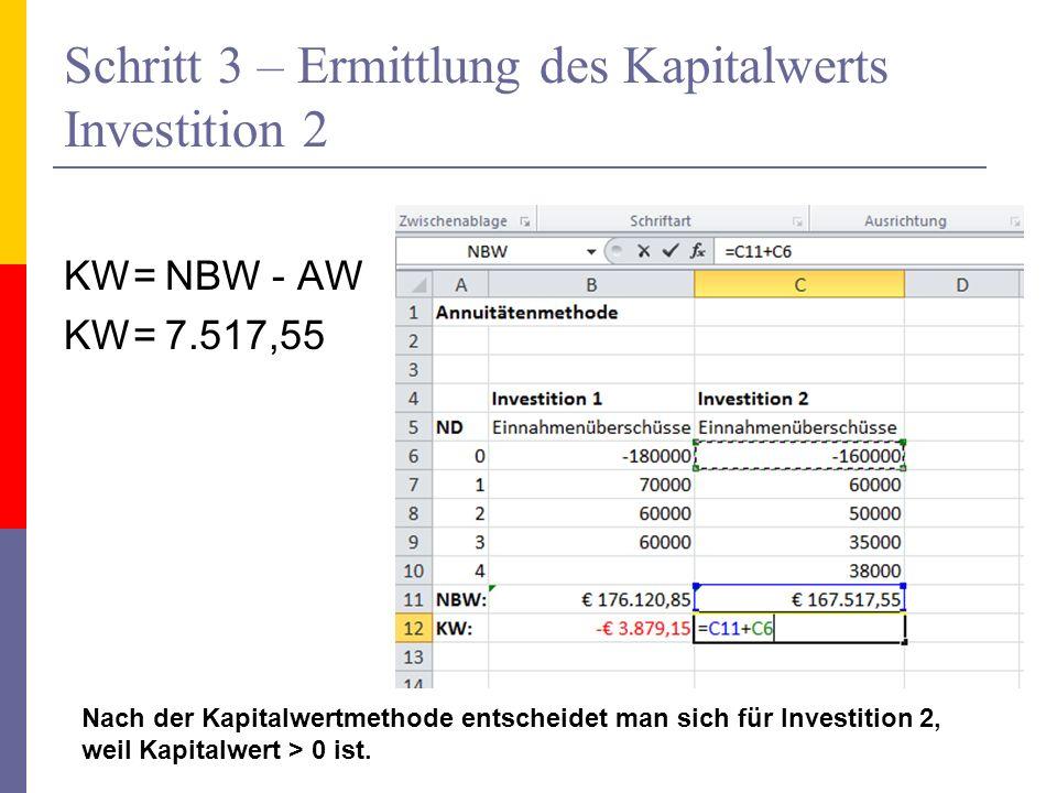 Schritt 3 – Ermittlung des Kapitalwerts Investition 2