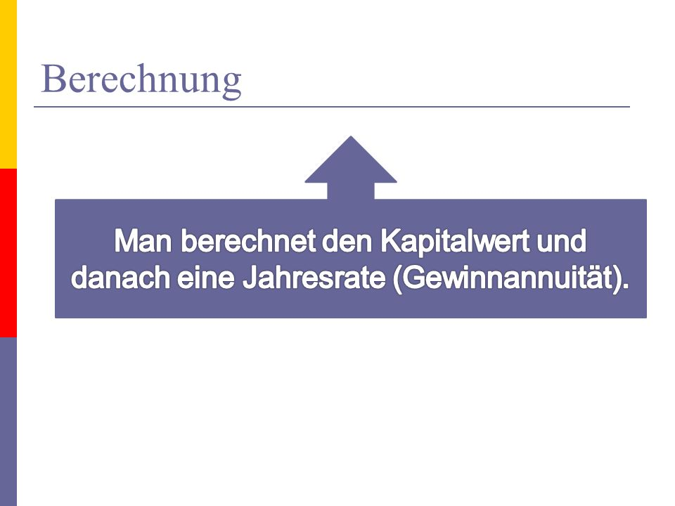 Berechnung Man berechnet den Kapitalwert und danach eine Jahresrate (Gewinnannuität).