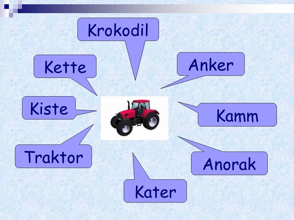 Krokodil Anker Kette Kiste Kamm Traktor Anorak Kater