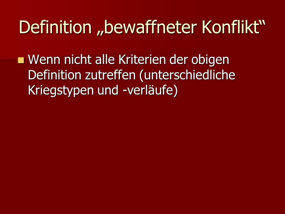 """Definition """"bewaffneter Konflikt"""