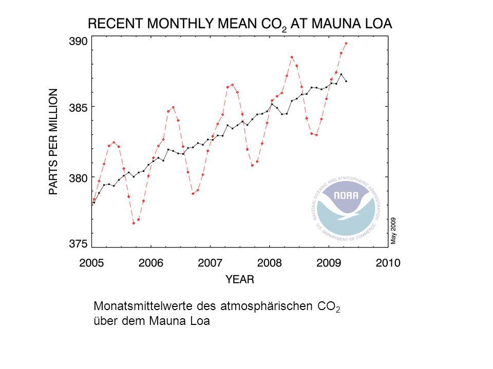 Monatsmittelwerte des atmosphärischen CO2 über dem Mauna Loa