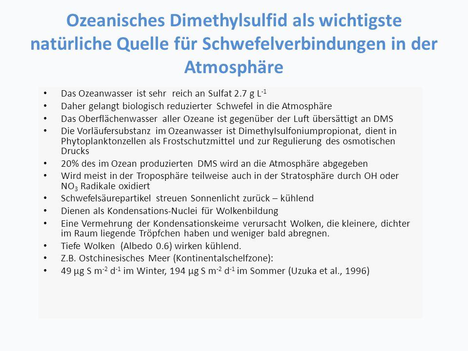 Ozeanisches Dimethylsulfid als wichtigste natürliche Quelle für Schwefelverbindungen in der Atmosphäre