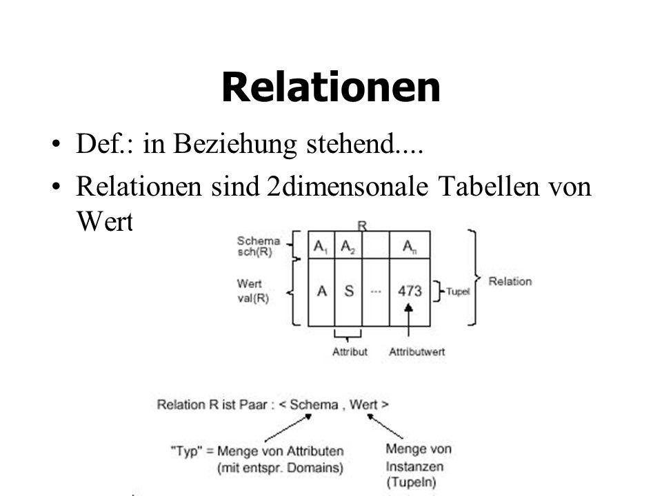 Relationen Def.: in Beziehung stehend....