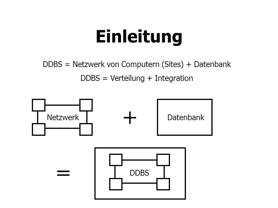 + = Einleitung DDBS = Netzwerk von Computern (Sites) + Datenbank