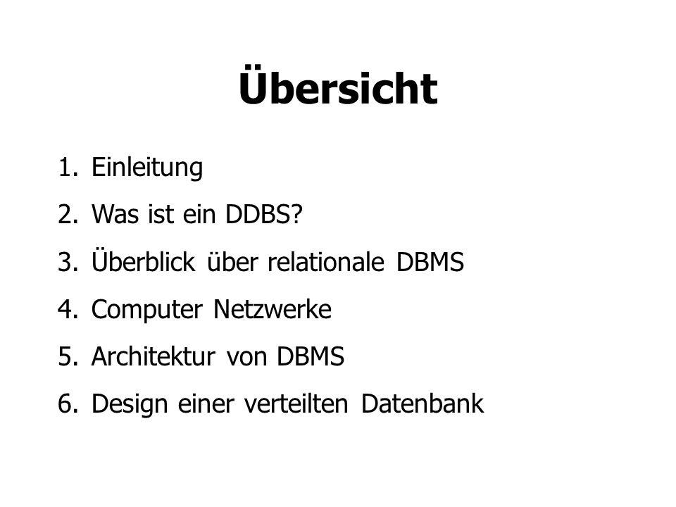 Übersicht Einleitung Was ist ein DDBS Überblick über relationale DBMS