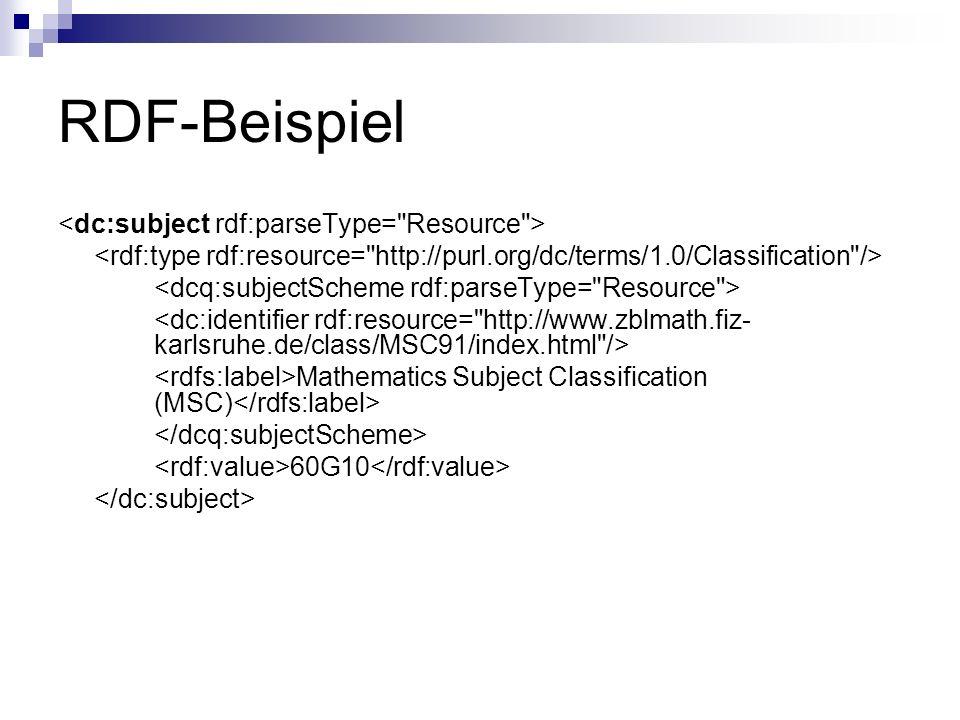 RDF-Beispiel <dc:subject rdf:parseType= Resource >