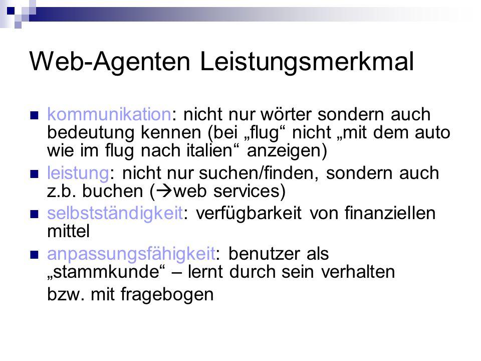 Web-Agenten Leistungsmerkmal