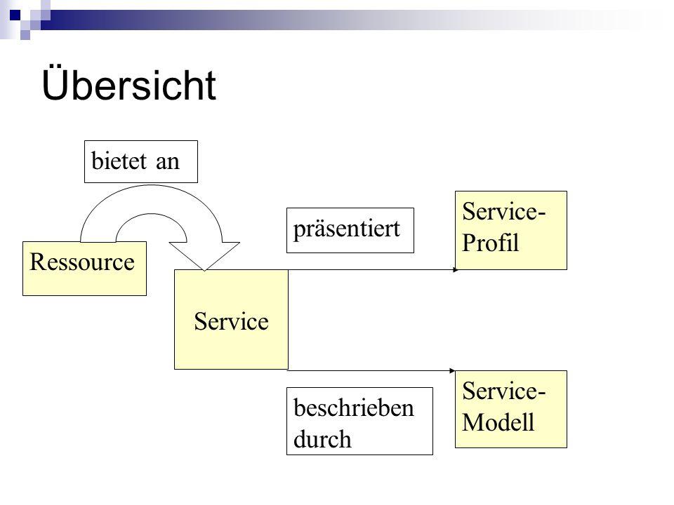 Übersicht bietet an Service-Profil präsentiert Ressource Service