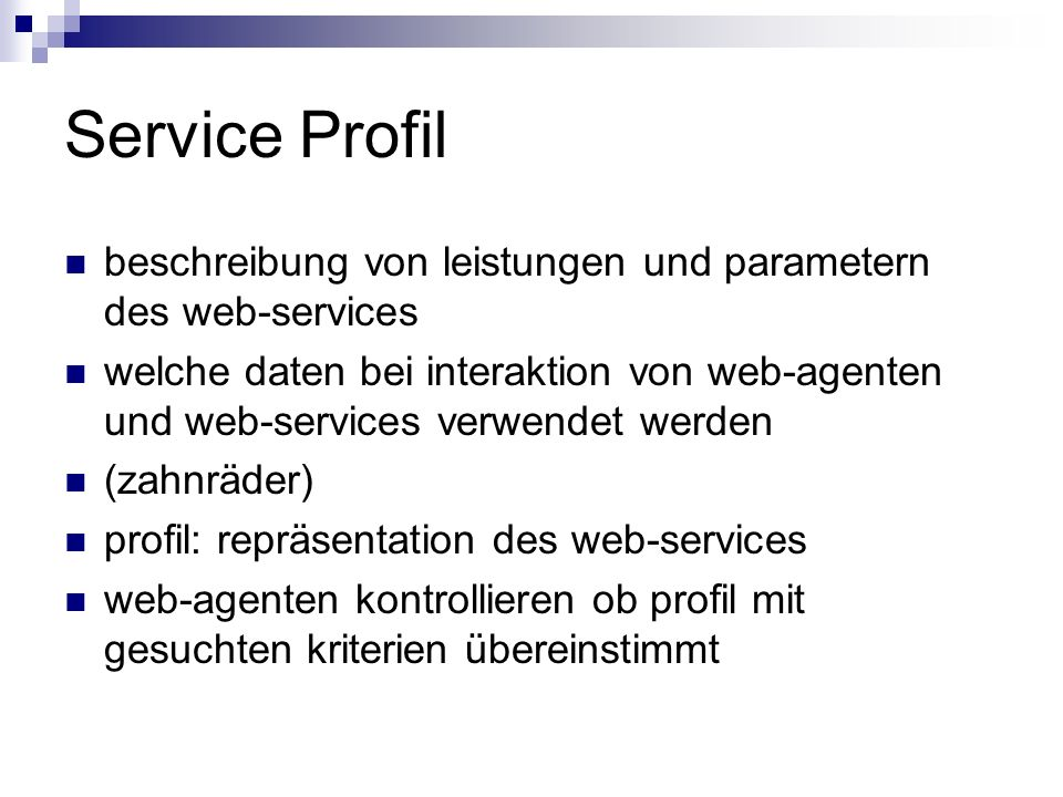 Service Profil beschreibung von leistungen und parametern des web-services.