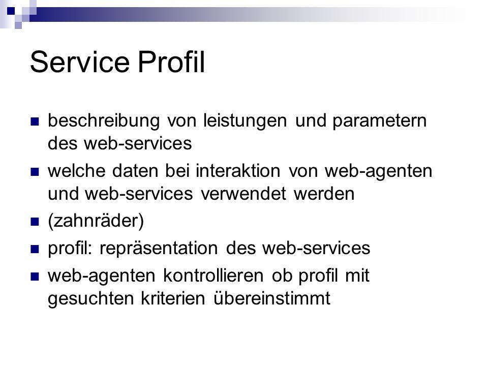 Service Profilbeschreibung von leistungen und parametern des web-services.