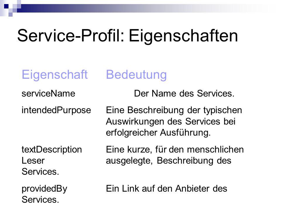 Service-Profil: Eigenschaften