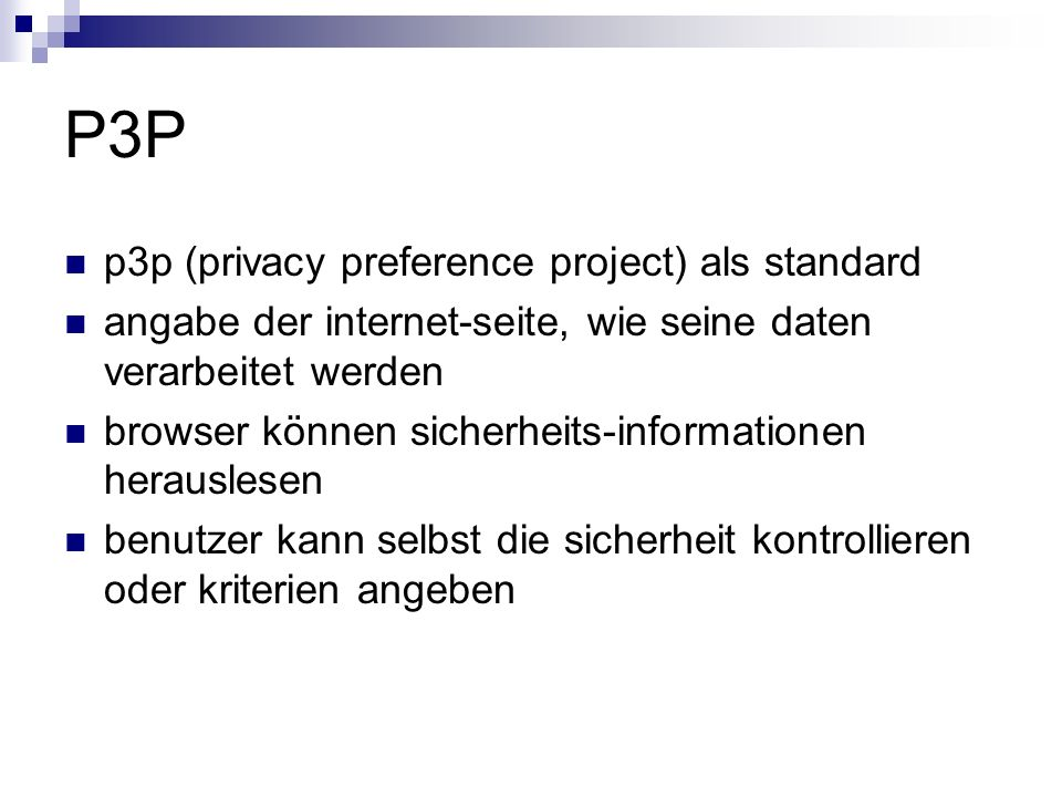 P3P p3p (privacy preference project) als standard