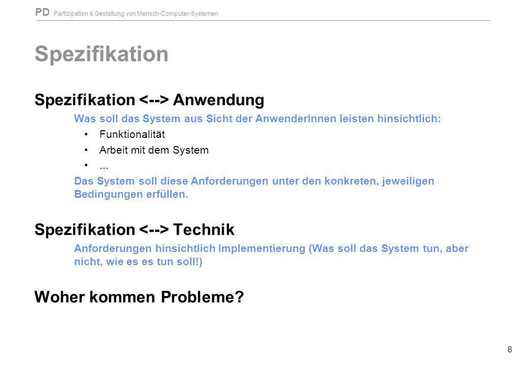 Spezifikation Spezifikation <--> Anwendung