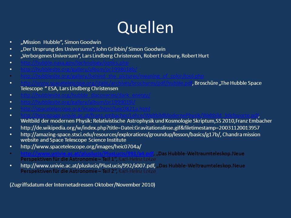 """Quellen """"Mission Hubble , Simon Goodwin"""