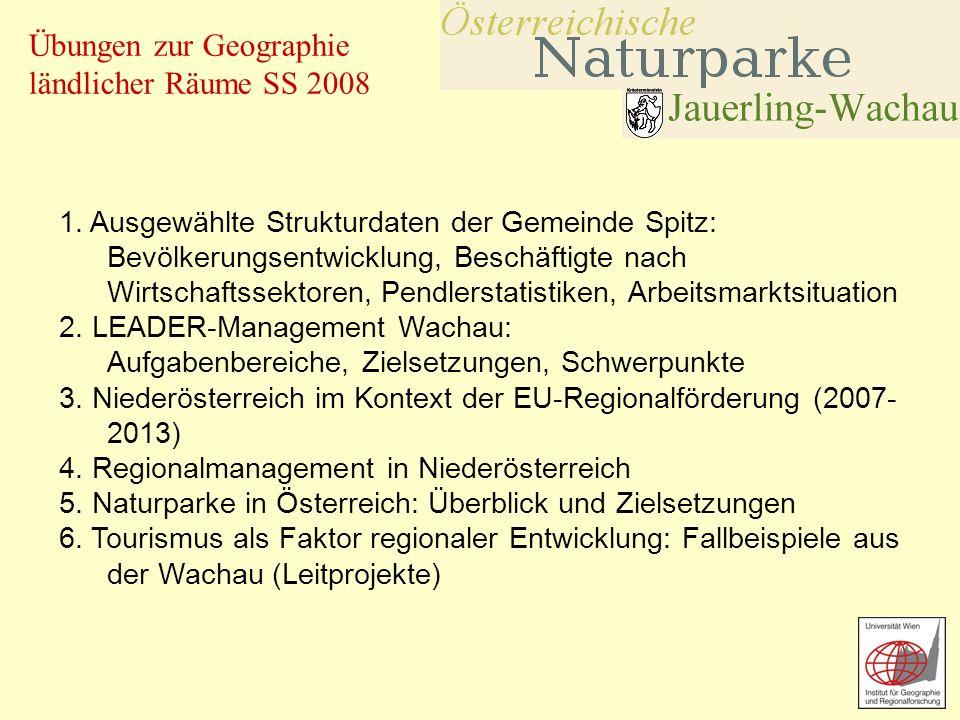 1. Ausgewählte Strukturdaten der Gemeinde Spitz: