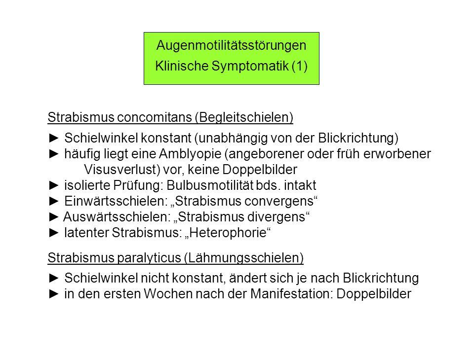 Augenmotilitätsstörungen Klinische Symptomatik (1)