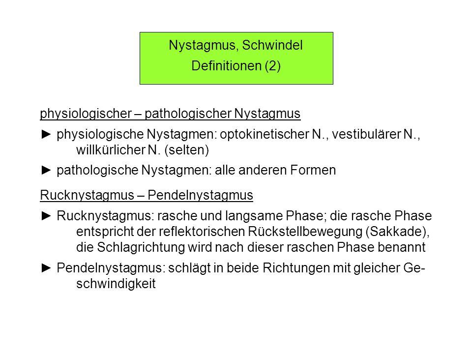 Nystagmus, Schwindel Definitionen (2) physiologischer – pathologischer Nystagmus. ► physiologische Nystagmen: optokinetischer N., vestibulärer N.,