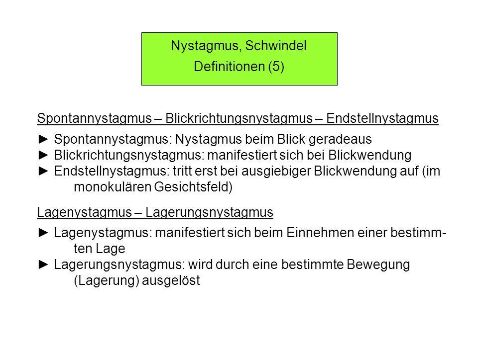Nystagmus, Schwindel Definitionen (5) Spontannystagmus – Blickrichtungsnystagmus – Endstellnystagmus.