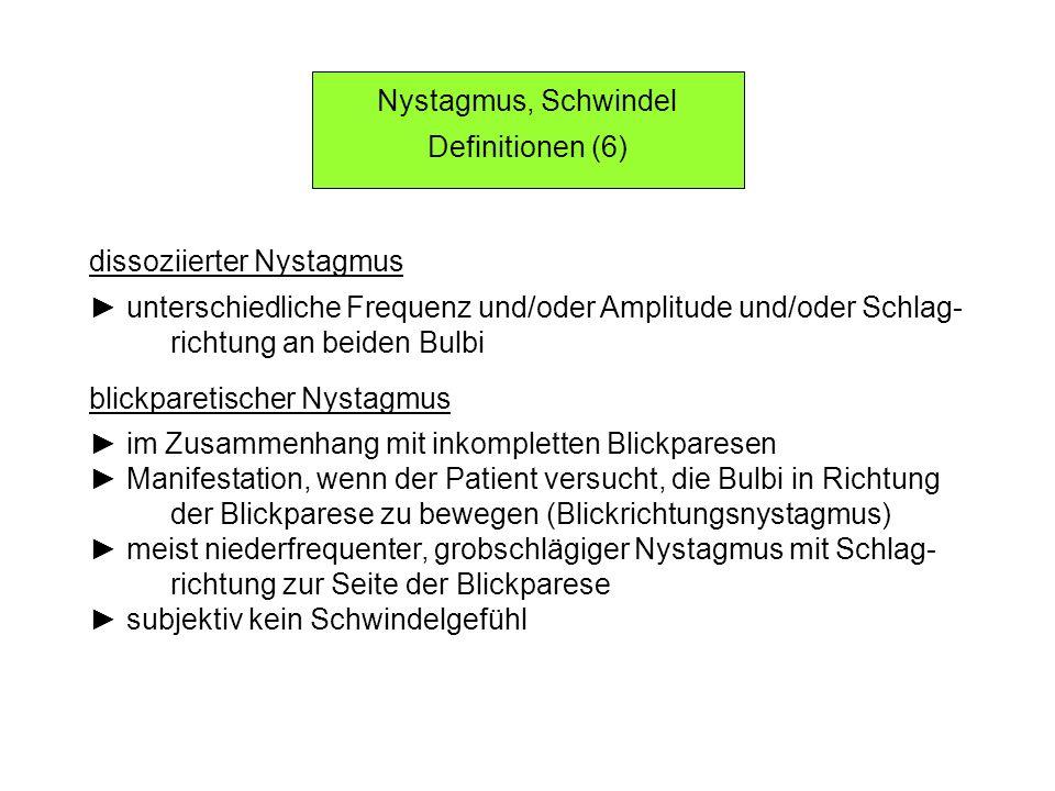 Nystagmus, Schwindel Definitionen (6) dissoziierter Nystagmus. ► unterschiedliche Frequenz und/oder Amplitude und/oder Schlag-
