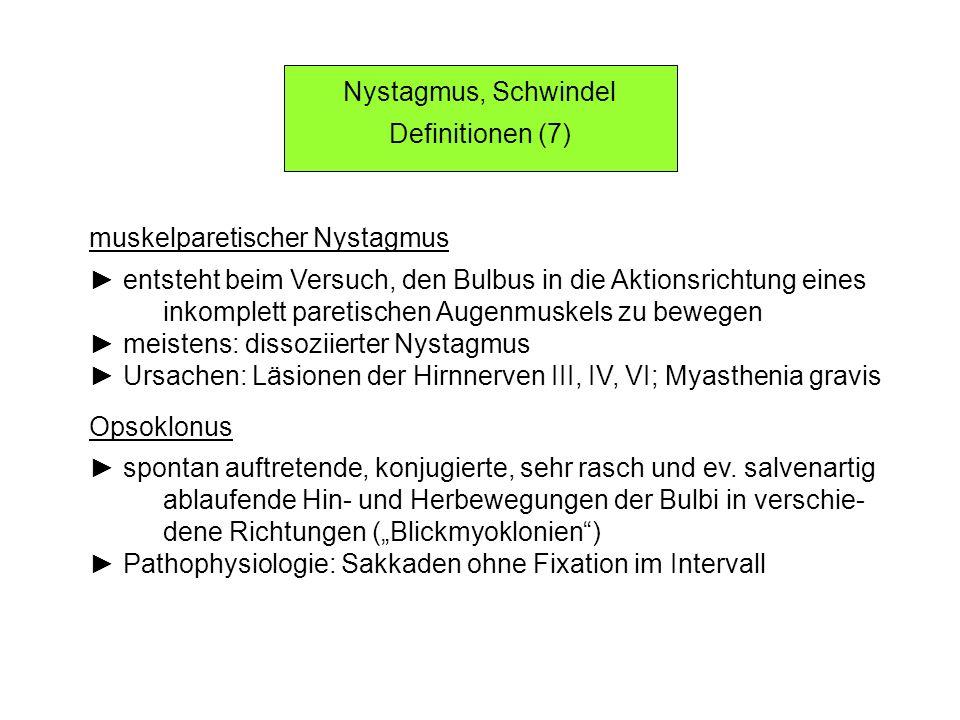Nystagmus, Schwindel Definitionen (7) muskelparetischer Nystagmus. ► entsteht beim Versuch, den Bulbus in die Aktionsrichtung eines.
