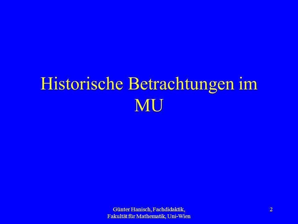 Historische Betrachtungen im MU