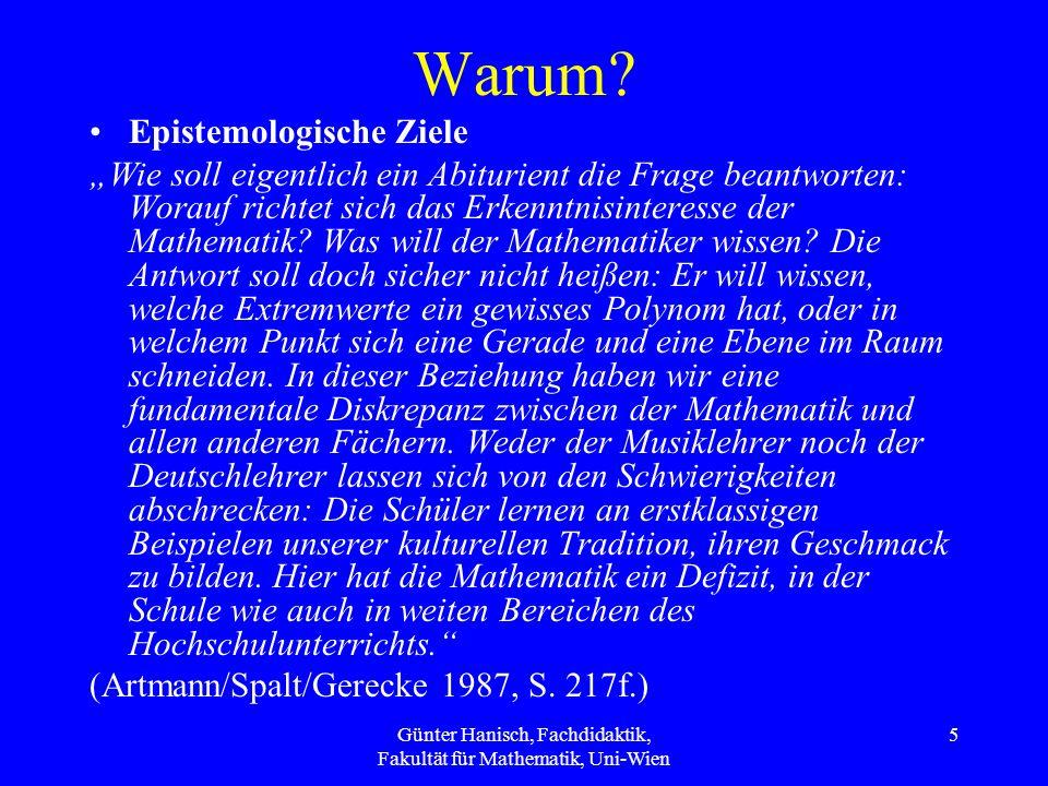 Günter Hanisch, Fachdidaktik, Fakultät für Mathematik, Uni-Wien