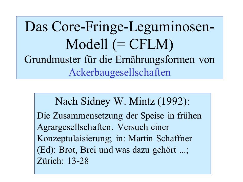 Das Core-Fringe-Leguminosen-Modell (= CFLM) Grundmuster für die Ernährungsformen von Ackerbaugesellschaften