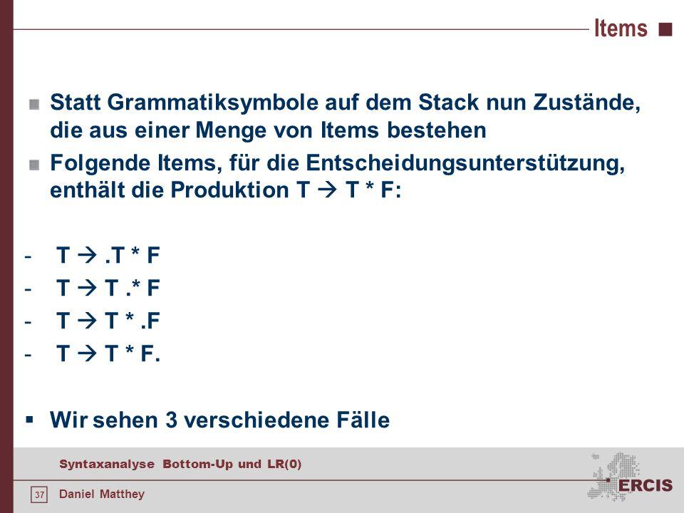 Items Statt Grammatiksymbole auf dem Stack nun Zustände, die aus einer Menge von Items bestehen.