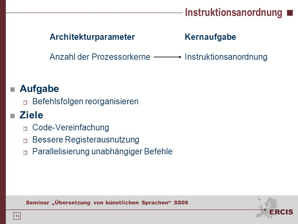Kernaufgaben und ISA Instruction Set Architecture (ISA)