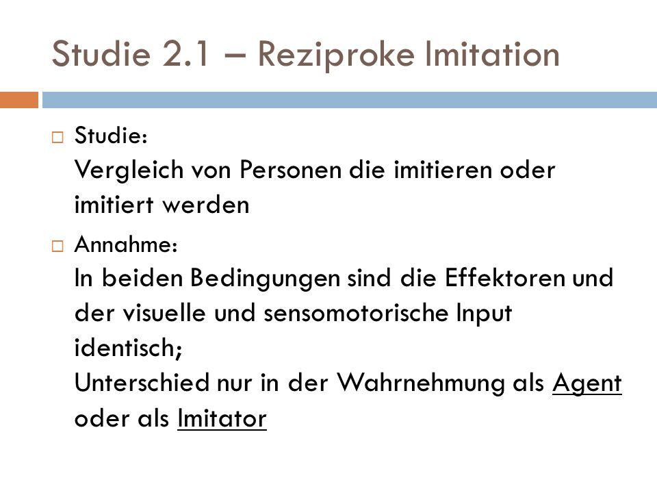 Studie 2.1 – Reziproke Imitation