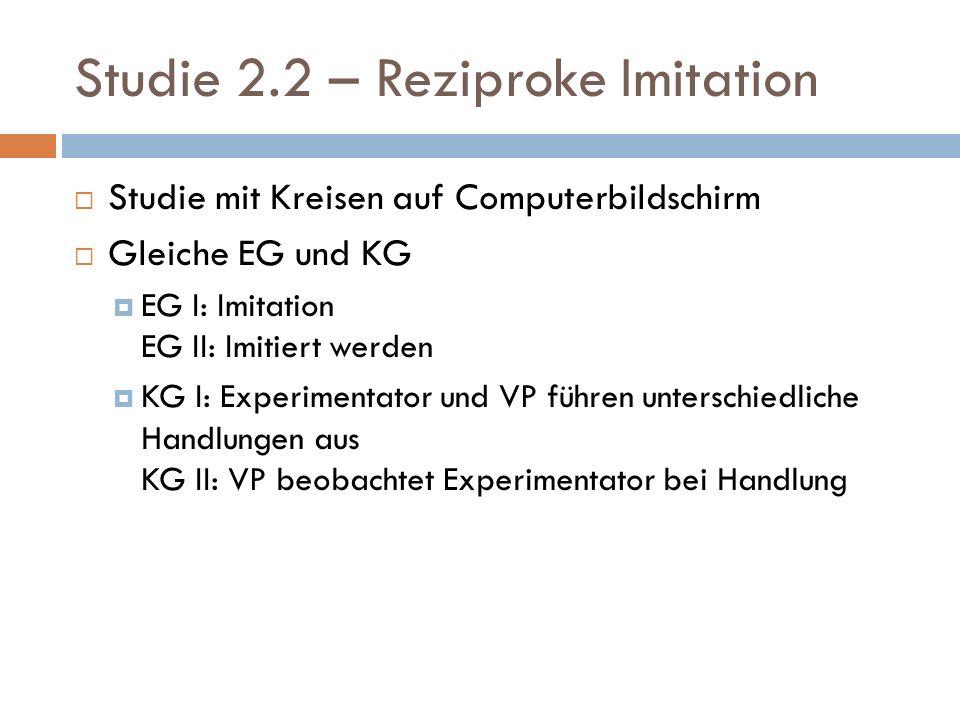 Studie 2.2 – Reziproke Imitation