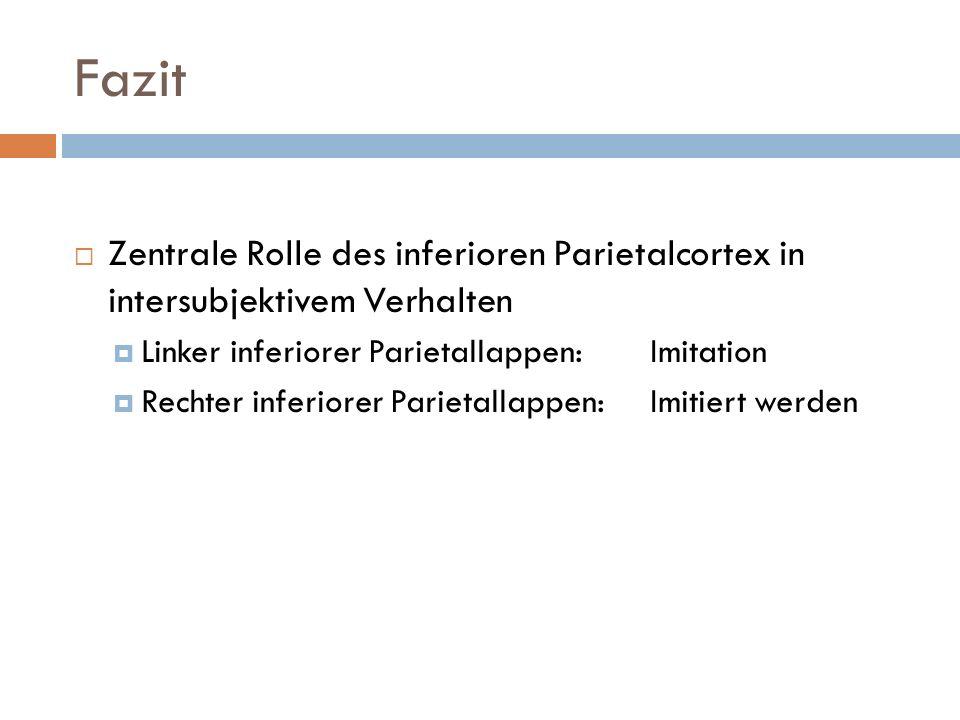Fazit Zentrale Rolle des inferioren Parietalcortex in intersubjektivem Verhalten. Linker inferiorer Parietallappen: Imitation.