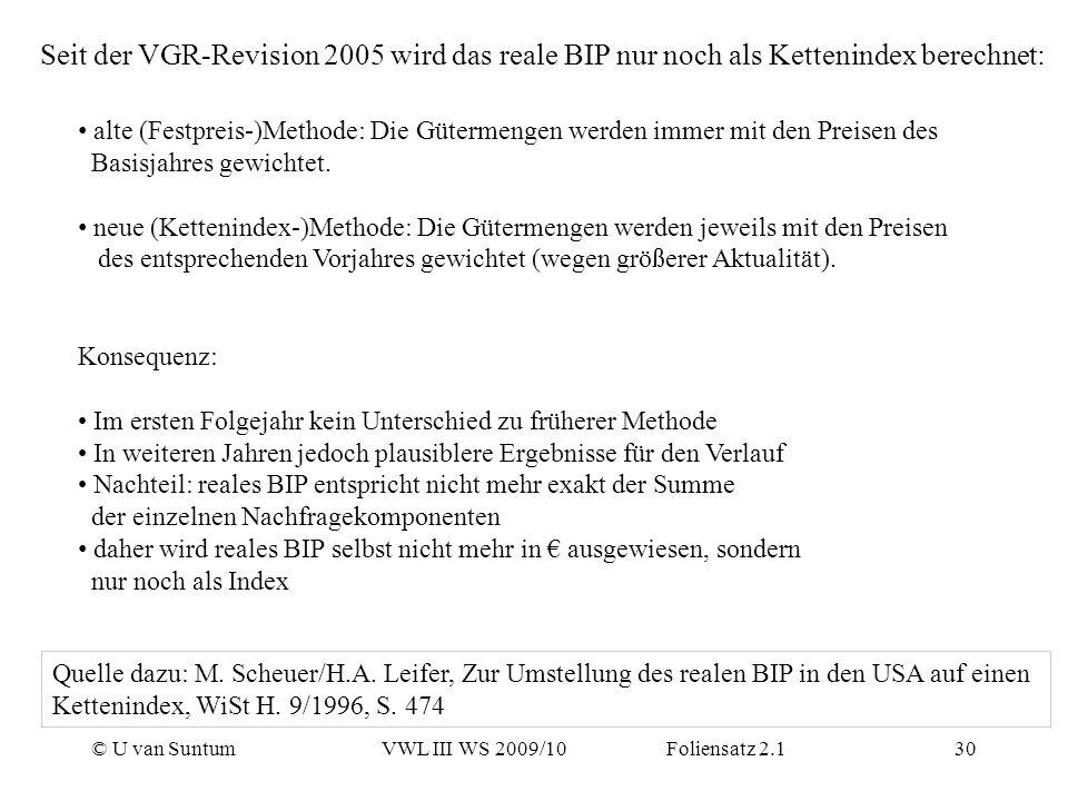 Seit der VGR-Revision 2005 wird das reale BIP nur noch als Kettenindex berechnet: