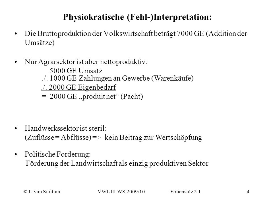 Physiokratische (Fehl-)Interpretation: