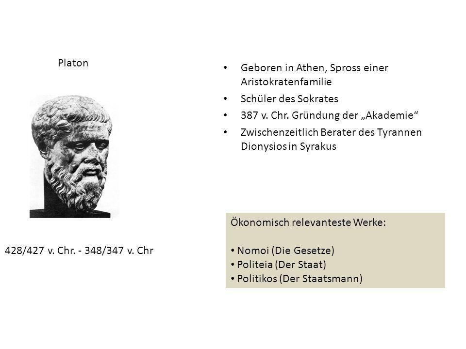 """Platon Geboren in Athen, Spross einer Aristokratenfamilie. Schüler des Sokrates. 387 v. Chr. Gründung der """"Akademie"""