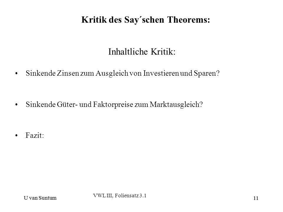Kritik des Say´schen Theorems: