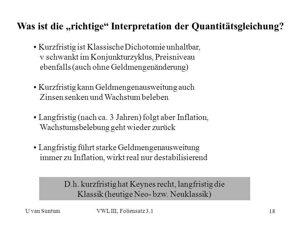 """Was ist die """"richtige Interpretation der Quantitätsgleichung"""