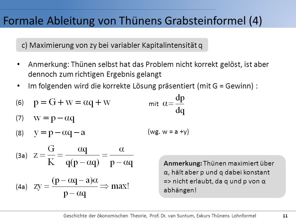 Formale Ableitung von Thünens Grabsteinformel (4)