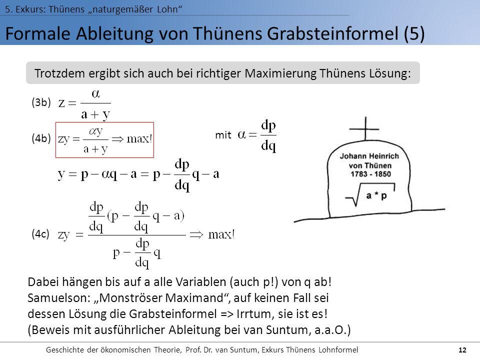 Formale Ableitung von Thünens Grabsteinformel (5)